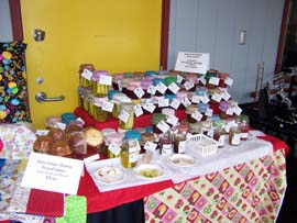 "Delicious jams, butters and pickles were available for tasting, by ""Two Creative Hearts"""
