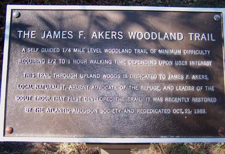 James F. Akers Woodland Trail - sign