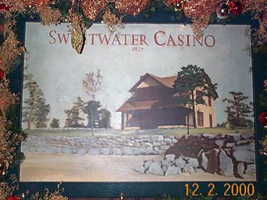 A painting of Sweetwater Casino depicted in 1927, which hung in the lounge area. This photo was taken December 2, 2000.