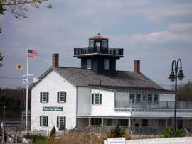 Tucker's Island Lighthouse, a recreation of the original that toppled into the  waters that were eroding Tucker's Island off Long Beach Island, in 1927.